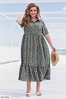 Красиве легка сукня вільного крою з натуральної штапелю в горошок Розмір: 52, 54, 56, 58 арт. 3062