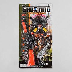 Военный набор 109-9 (108/2) 12 элементов, автомат, револьвер, 2 пистолета, 12 патронов на присоске, на листе