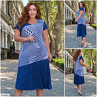 Повсякденне батальне літній приталена сукня віскоза/ трикотаж з принтом р: 52, 54, 56, 58 арт. 407