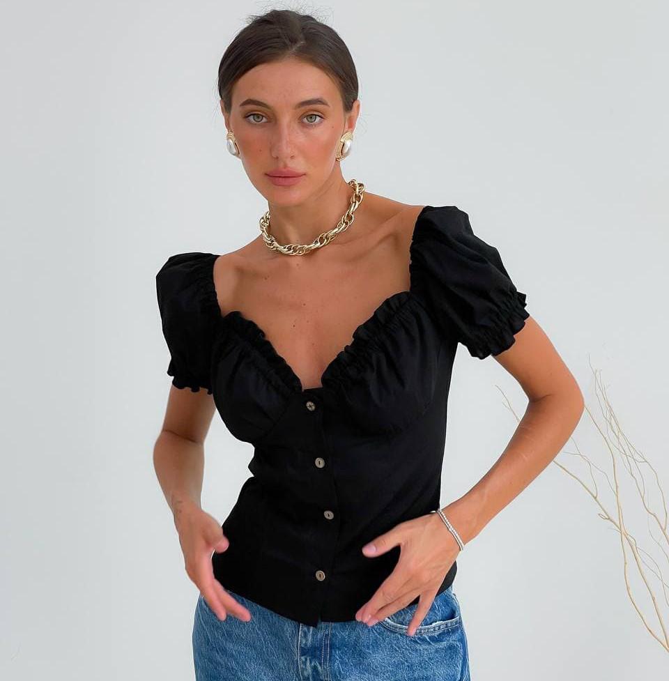 Женская блузка-топ из льна на пуговицах