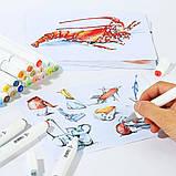 Набор скетч маркеров 60 шт для рисования фломастеры для рисования спиртовые двухсторонние белые, фото 5
