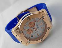 Женкские часы HUBLOT - Big Bang каучуковый синий ремешок, цвет корпуса золотистый
