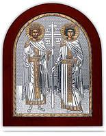 Святая Елена и Константина Икона Silver Axion (Греция) Серебряная с позолотой 260 х 310 мм