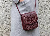 Маленька шкіряна сумочка, бордова жіноча сумка через плече, тиснена шкіра, ручна робота, фото 1