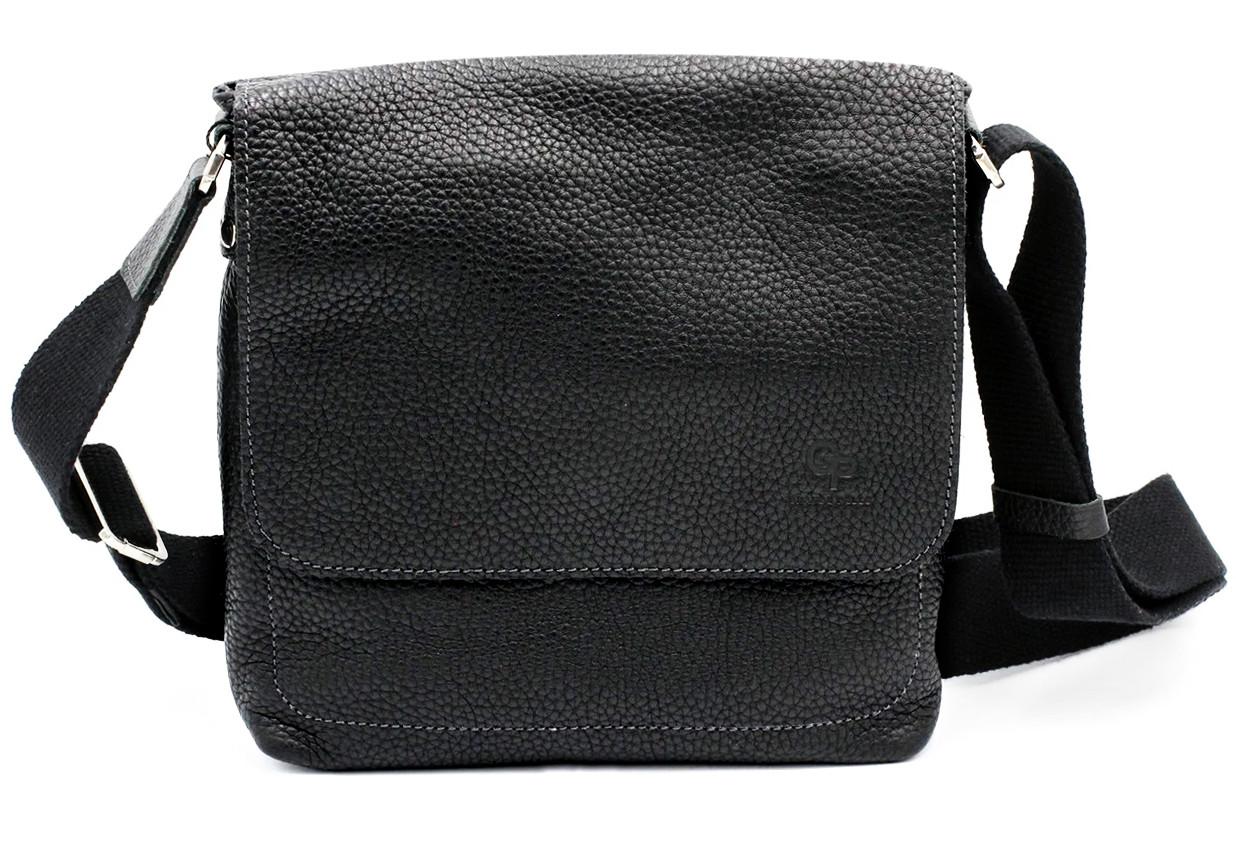 Чоловіча сумка через плече Grande Pelle, чорна чоловіча сумка з натуральної шкіри, сумка мессенджер
