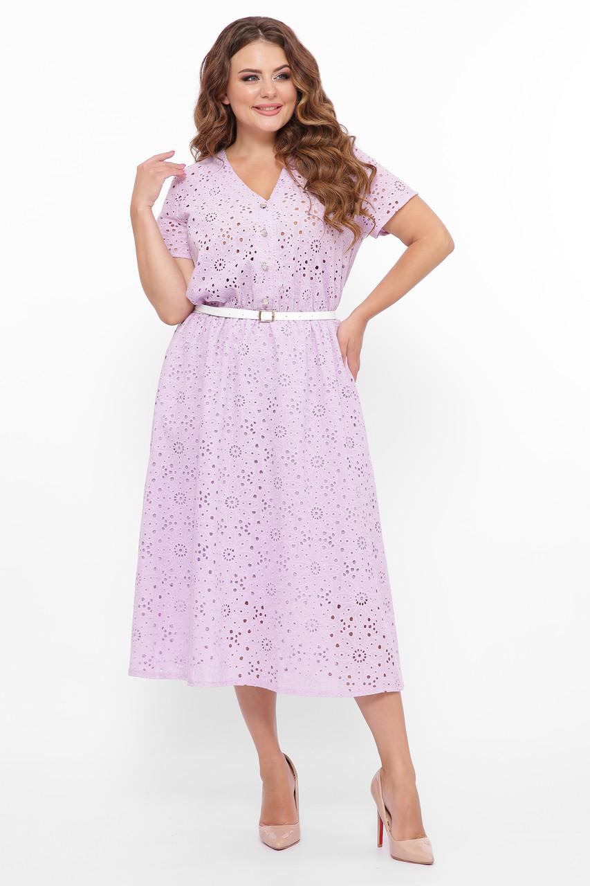 / Розмір 54,56,58,60 / Жіноче красиве бавовняне плаття / Лідія колір бузок