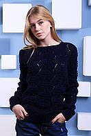 """Ажурный свитер """"Маями"""", тёмно-синий"""