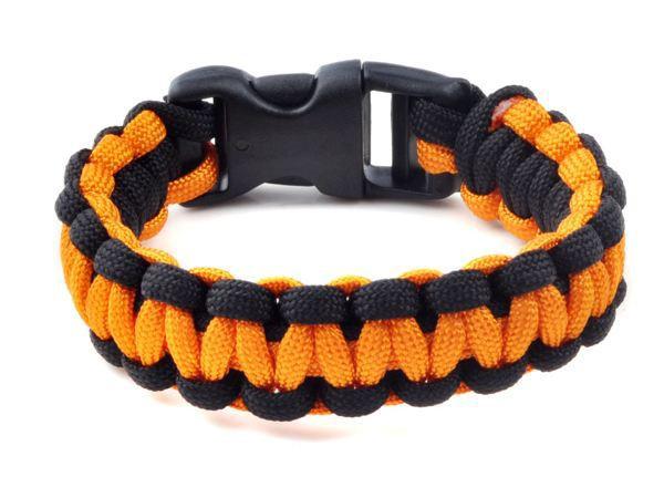 Браслет выживания Paracord black orange