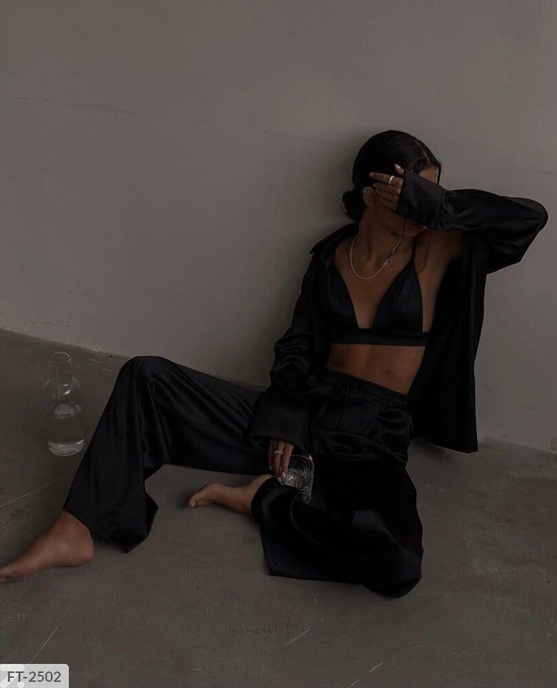 Женский костюм тройка: удлиненная рубашка + топ + брюки