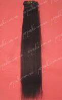 Натуральные волосы на заколках 65 см, 10 прядей, темно-коричневый, 02