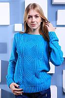 """Тёплый ажурный свитер """"Софи"""", голубой"""