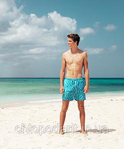 Шорты хамелеон для плавания, пляжные мужские спортивные меняющие цвет синие с рисунком размер S код 26-0011