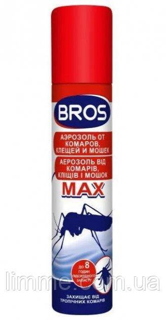 Аерозоль від комарів, кліщів і мошок Bros MAX 90 мл (до 8 годин захисту)