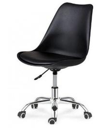 Пластикове крісло SDM Астер чорне з подушкою на коліщатках хром