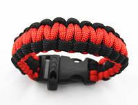 Браслет выживания Paracord black red