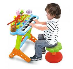 """Дитячий синтезатор 669 (4) """"Hola"""" зі стільчиком, звук, світло, в коробці"""