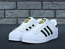 Чоловічі кросівки в стилі Adidas Superstar Originals Black/Gold, фото 3