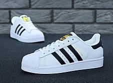 Чоловічі кросівки в стилі Adidas Superstar Originals Black/Gold, фото 2