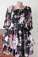 Плаття жіноче шифонове з поясом-резинкою