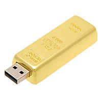 Флеш-память 8 Гб, флешка металлическая в виде золотого слитка, эксклюзивный бизнес сувенир