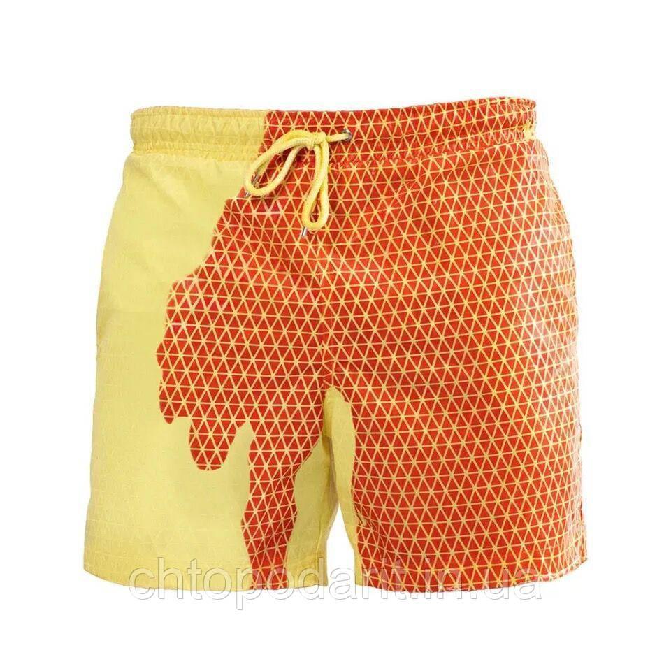 Шорти хамелеон для плавання, пляжні чоловічі спортивні змінюють колір жовті в квадрати розмір M код 26-0128