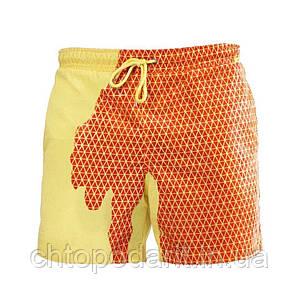 Шорты хамелеон для плавания, пляжные мужские спортивные меняющие цвет желтые в квадраты размер M код 26-0128