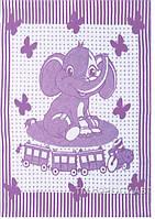 Детское мягкое одеяло 100% хлопок 100х140см Слоник