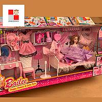 Большой набор мебели с куклой для Барби спальня,ОБЗОР гардероб кровать,трюмо, платья, мебель для домика барби