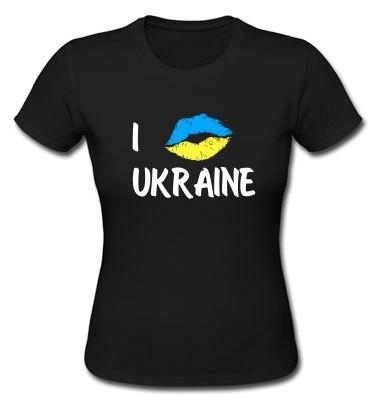 """Футболка женская с принтом """"I love Ukraine"""""""