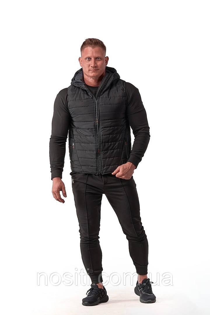 Мужская жилетка с капюшоном на силиконе