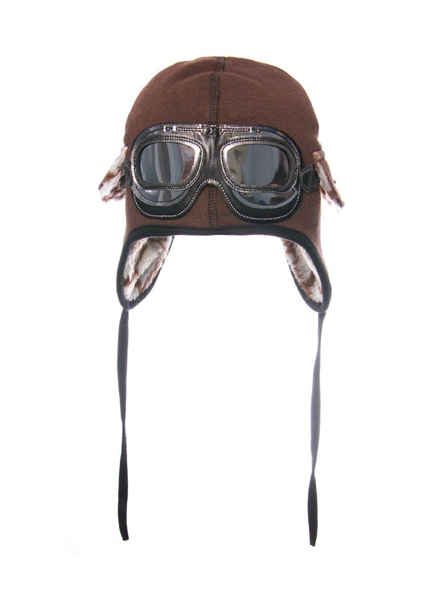 Шапка на мальчика с декоративными очками, утепленная исскуственным мехом