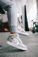 Кроссовки женские подростковые Nike Air Jordan Grey / Найк Аир Джордан серые высокие
