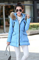 Женский пуховик голубой зима