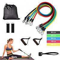 Набор трубчатых эспандеров для фитнеса 5 штук / Комплект Эспандер-резинки для фитнеса