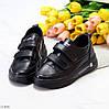 Модные черные кожаные молодежные женские кроссовки кеды криперы на липучках, фото 7