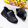 Модные черные кожаные молодежные женские кроссовки кеды криперы на липучках, фото 8
