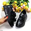 Модные черные кожаные молодежные женские кроссовки кеды криперы на липучках, фото 10