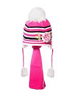 Детская зимняя шапочка в полоску с многослойным цветком на флисовой подкладке с  шарфиком