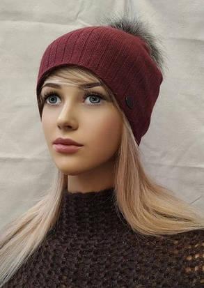 Молодежная шапка  с ЛЮРЕКСОМ  с бубоном Жанна ODYSSEY бордо 43843, фото 2