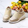 Бежевые комфортные стильные женские кроссовки сникерсы на каждый день, фото 4