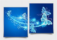 Схема на ткани для вышивания бисером. Ажурные бабочки (синий) АР3-012