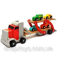 Дерев'яна іграшка Автовоз Top Bright перевізник 40х8х12 см (трейлер, 4 машинки) 120327, фото 2