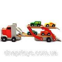 Дерев'яна іграшка Автовоз Top Bright перевізник 40х8х12 см (трейлер, 4 машинки) 120327, фото 3