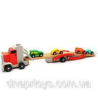Дерев'яна іграшка Автовоз Top Bright перевізник 40х8х12 см (трейлер, 4 машинки) 120327, фото 4