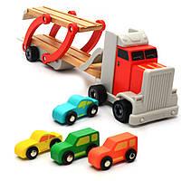 Дерев'яна іграшка Автовоз Top Bright перевізник 40х8х12 см (трейлер, 4 машинки) 120327, фото 5