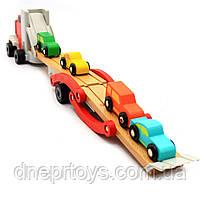 Дерев'яна іграшка Автовоз Top Bright перевізник 40х8х12 см (трейлер, 4 машинки) 120327, фото 6