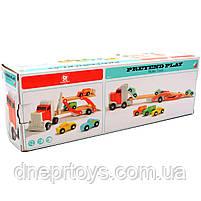 Дерев'яна іграшка Автовоз Top Bright перевізник 40х8х12 см (трейлер, 4 машинки) 120327, фото 7