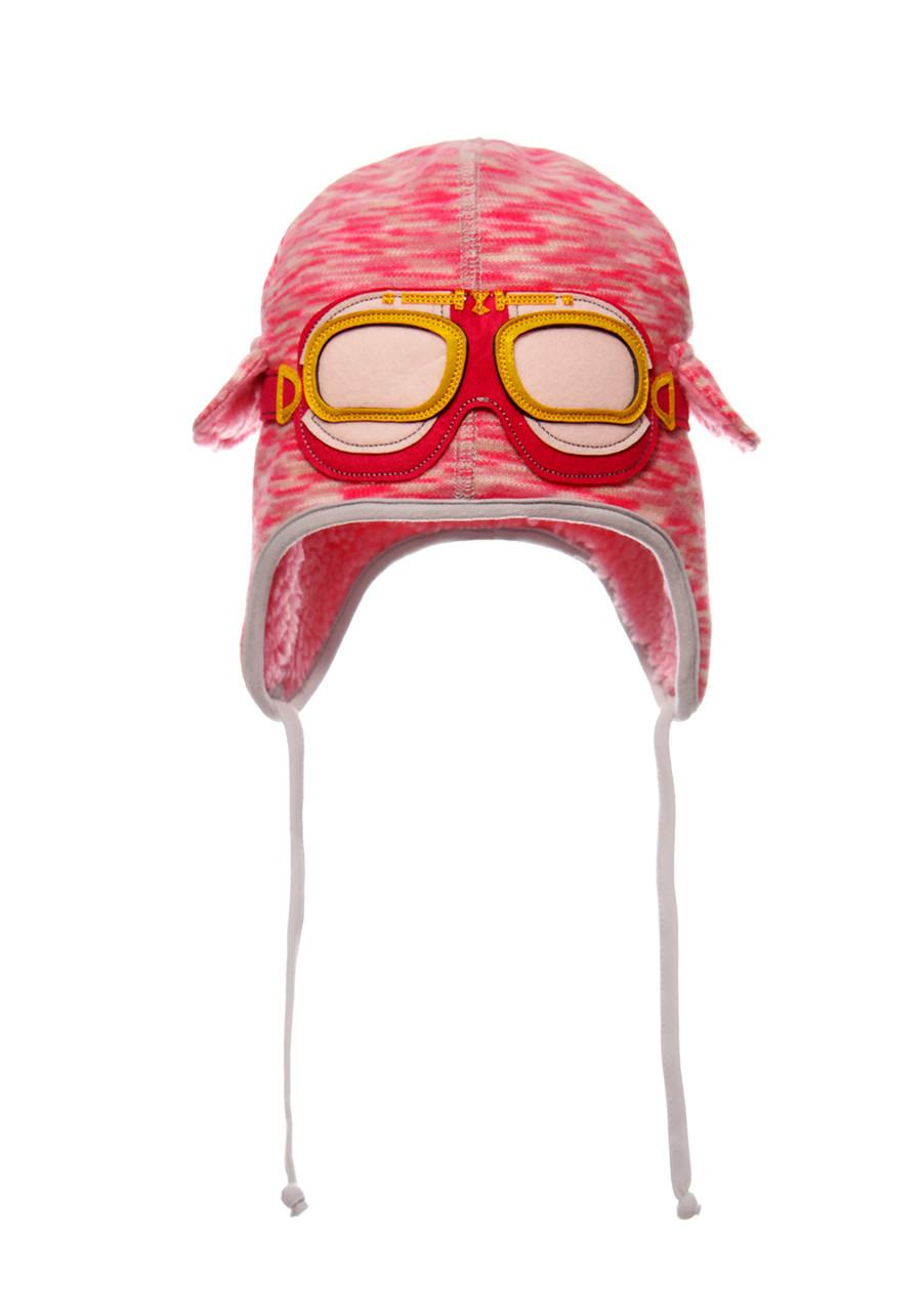 Шапка с декоративными очками, утепленная исскуственным мехом