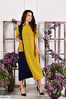Круте довге двокольорове кишеню сукні вільного крою в горошок з софта р: 50-52, 54-56, 58-60 арт. 180