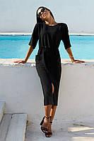 Летнее платье миди с поясом и накладными карманами 42-48 размеры разные цвета